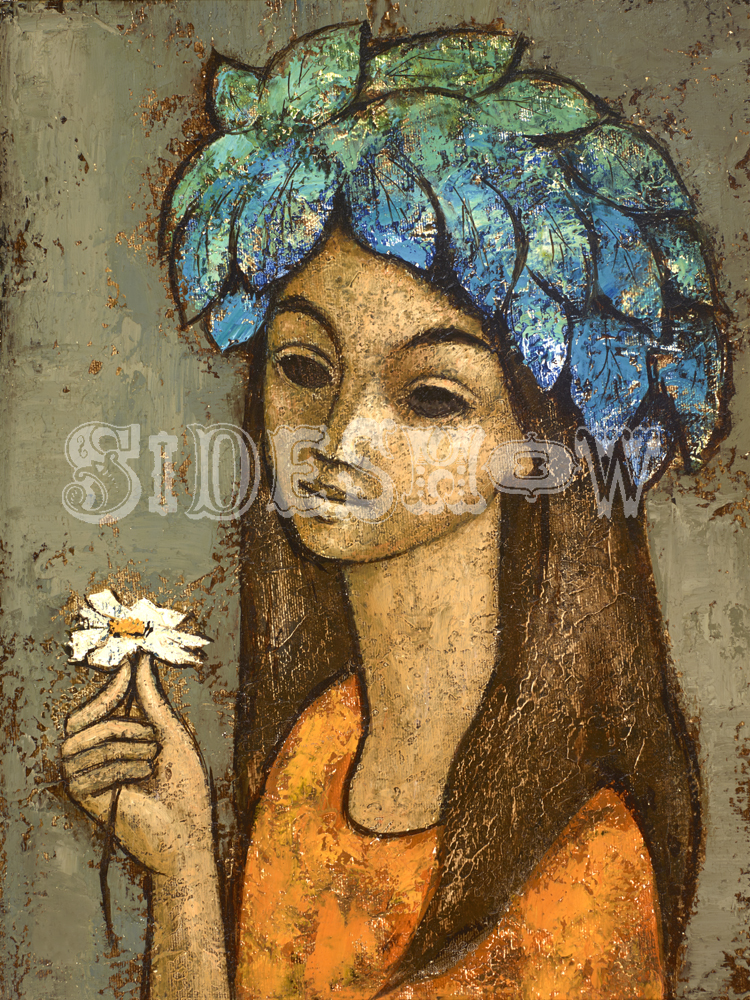 daisy girl with crown of leaves