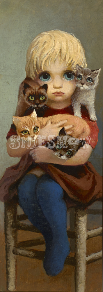 big eyes child with kittens