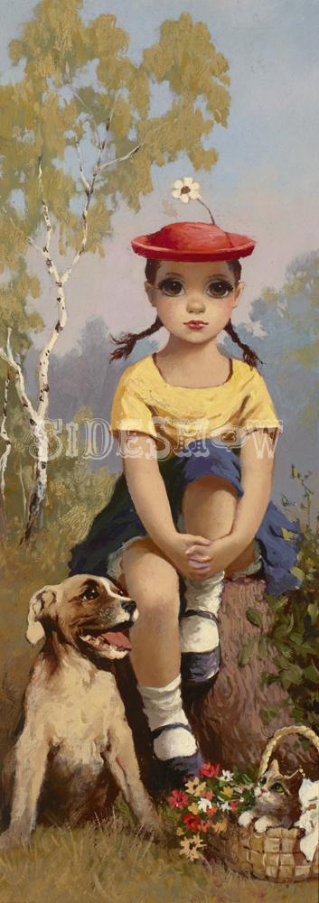 big eye girl daisy hat animals picking flowers
