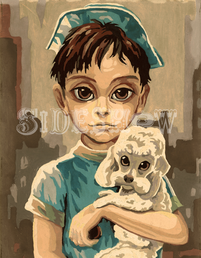 sailor blue boy with puppy