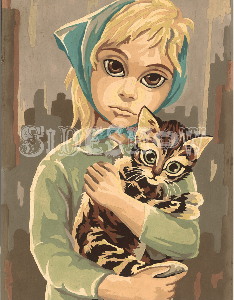 Blue Bonnet Girl with Kitten