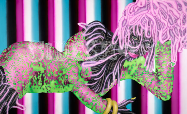 Sandberg, Erik_girl_with_stripes_and_leopard_print_AB
