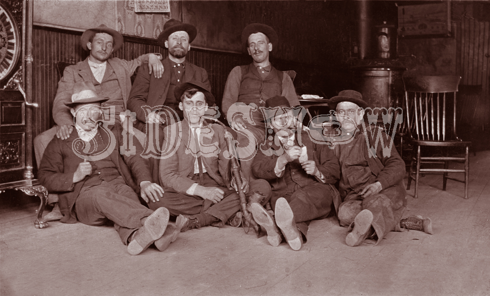 tired men saloon vintage photo
