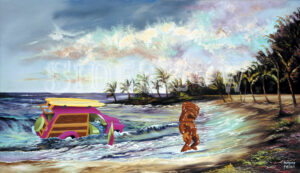 THE ARRIVAL OF TIKI TO THE SOUTH SEAS 41 x 24, oil on canvas Piatnik  Yeh sure, we all know how Tikis are some mystic religious figure for barefoot natives in grass skirts. I like to think that some stoned surfer drove his woody into the ocean by mistake and ended up floating like Thor Heyerdahl to some remote island. Welcome Tiki, there's nothing to do here but breed.
