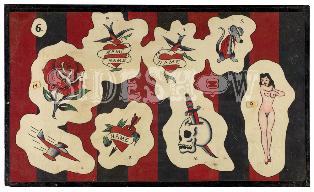 vintage red and black tattoos