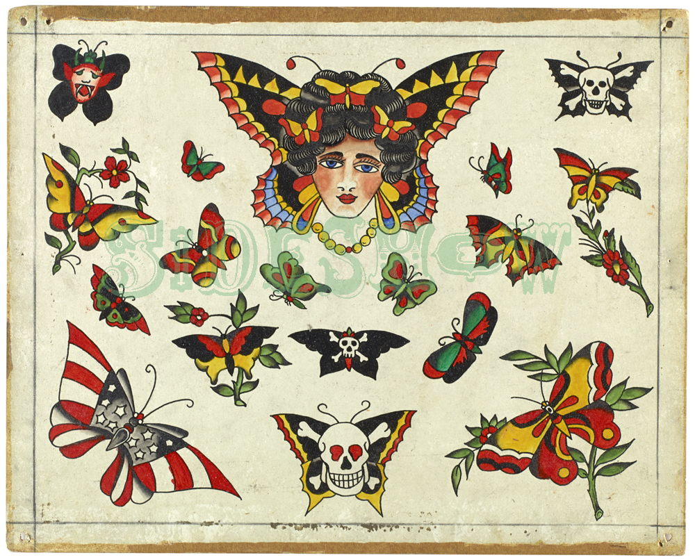 vintage butterfly tattoo sample