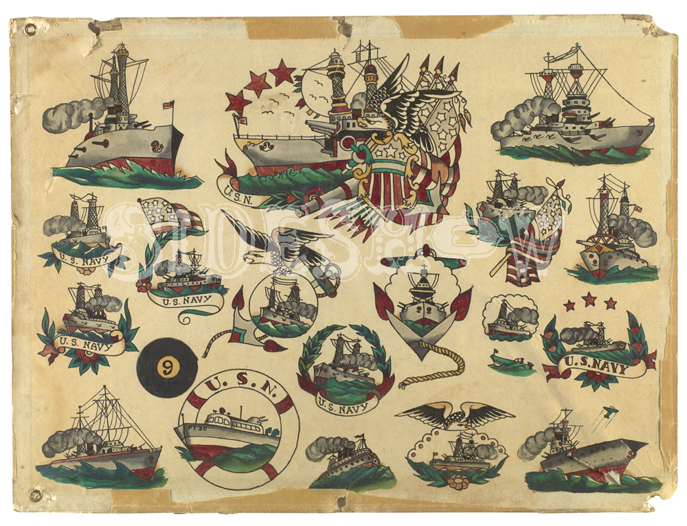 Vintage navy tatto sample sheet