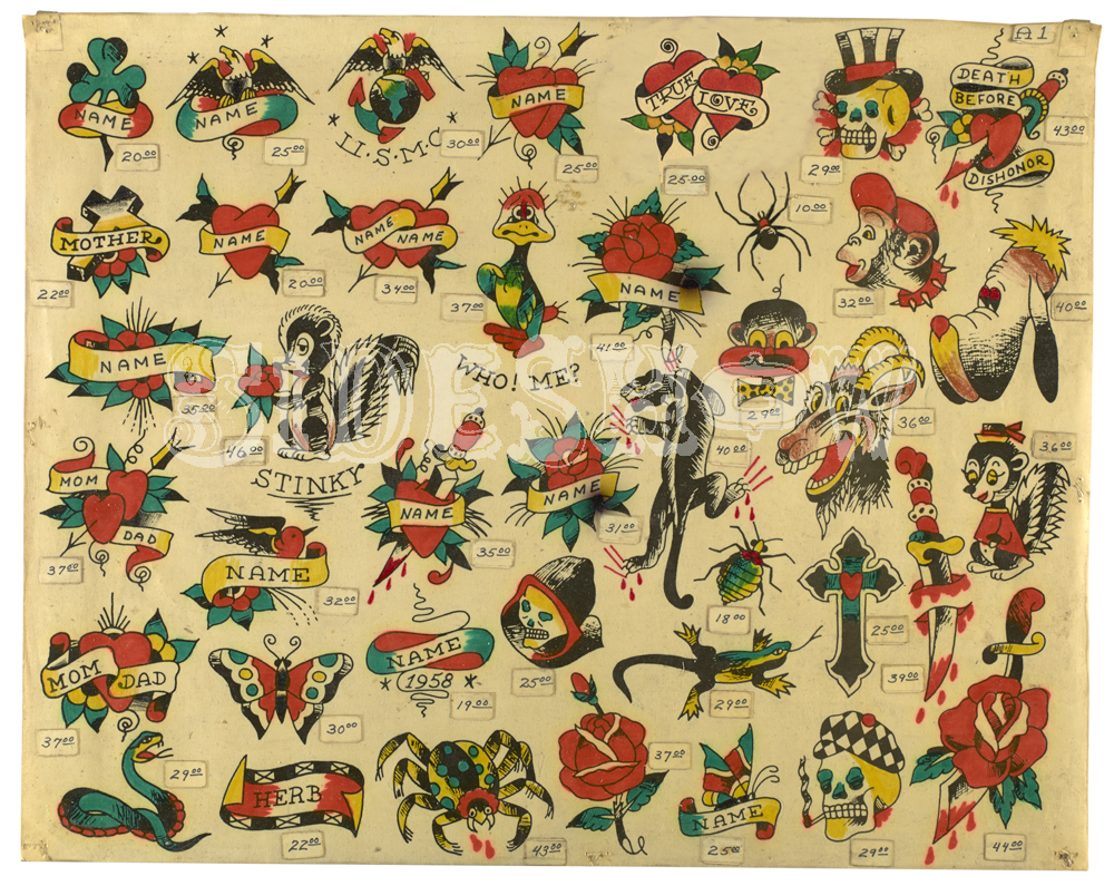 vintage tattoo sample sheet