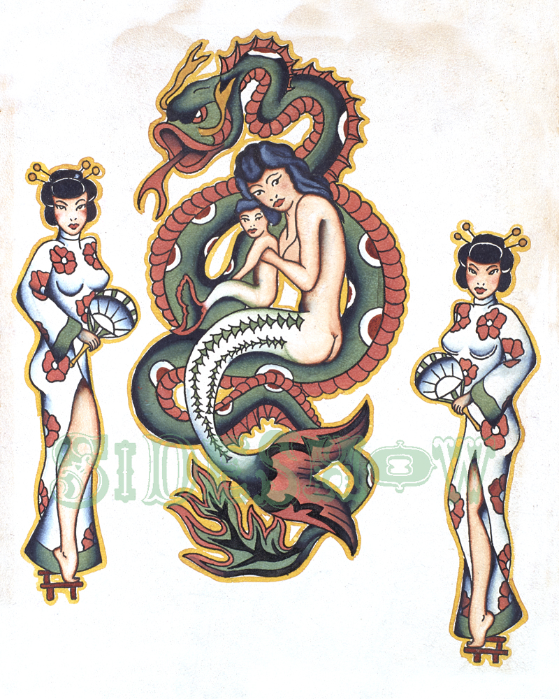 mermaid asian tattoo vintage