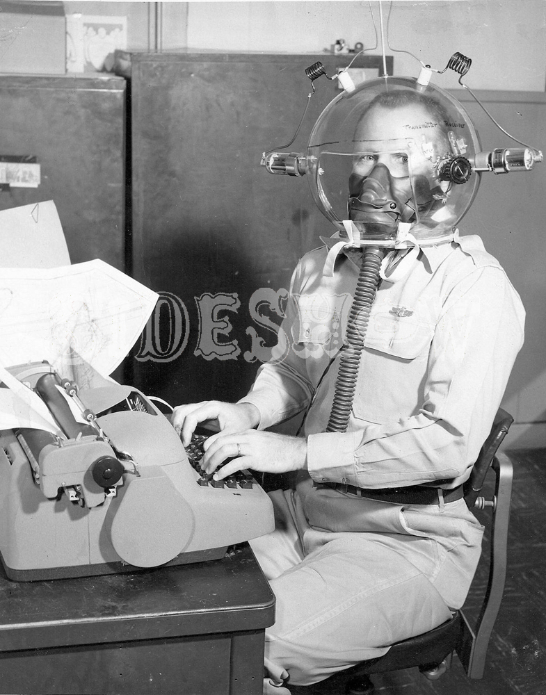 uniformed typist gas mask
