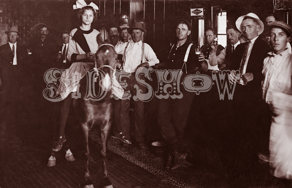 girl on pony saloon vintage photo