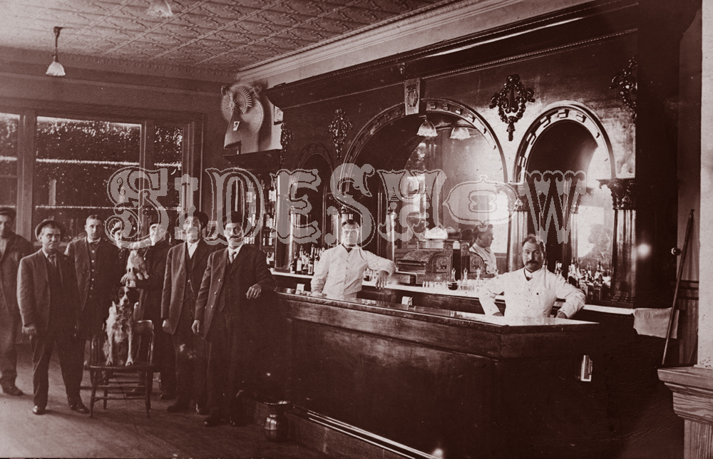 dogs men saloon vintage photo