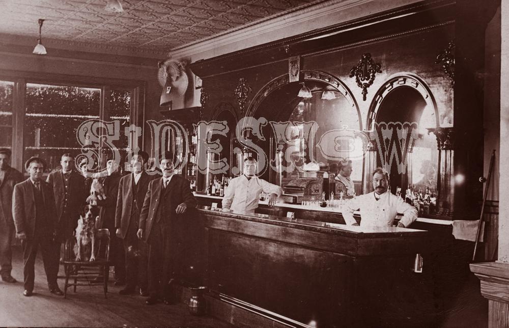 dogs men saloon vintage photo