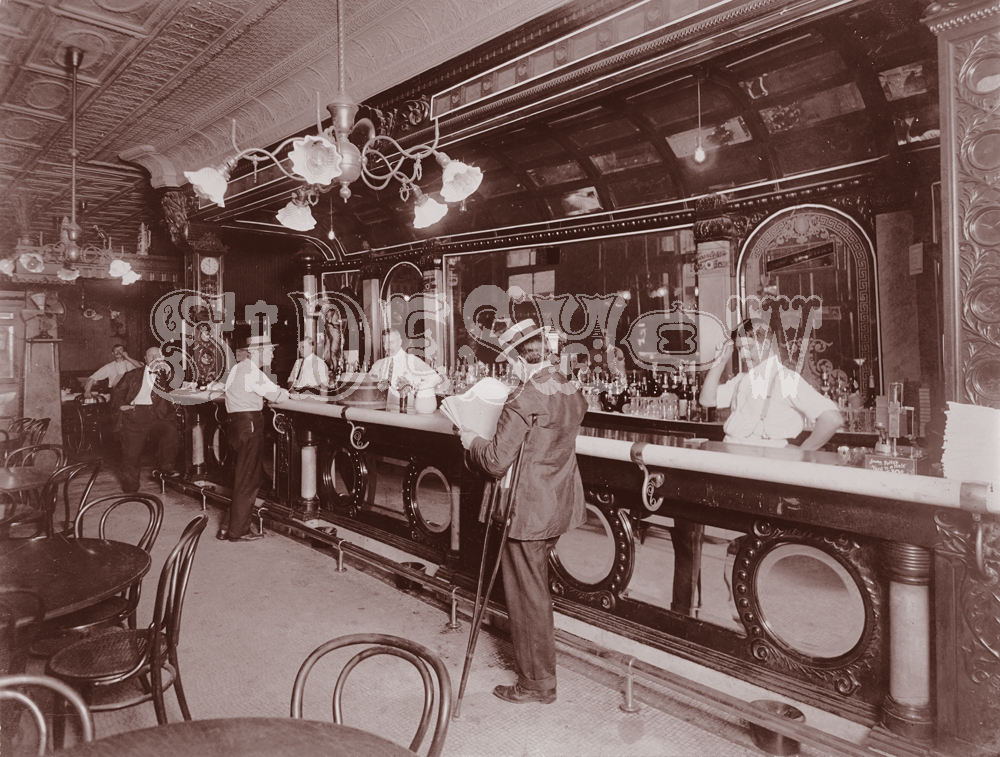 newspaper saloon vintage photo