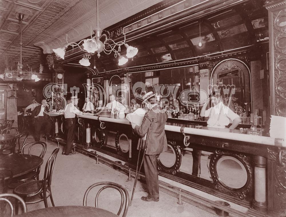 newspaper saloon vintage photo