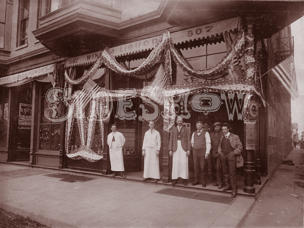 banners and flags saloon vintage photo