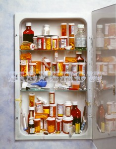 010 001 wall mounted medicine cabinet full of messy, dirty, prescription bottles, pills, and other items