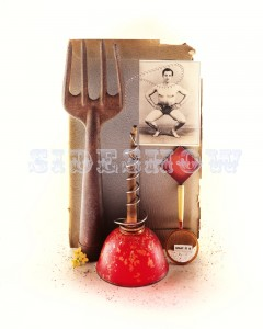 005 001 Still Life Composition with red oil can, rusty garden fork tool, magnifying glass, square vintage black and white portrait of an athletic man squating.