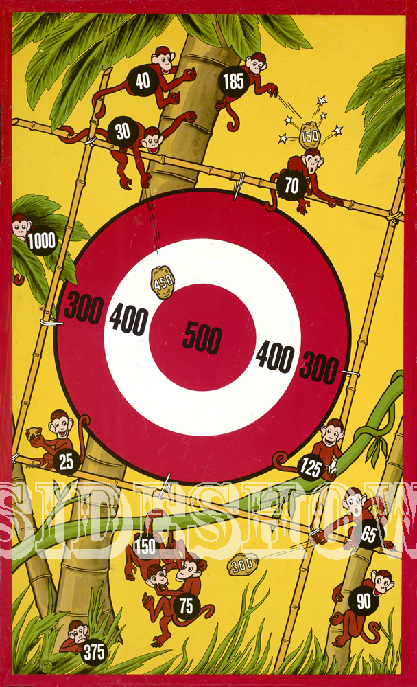 monkeys and coconuts vintage target dart board game