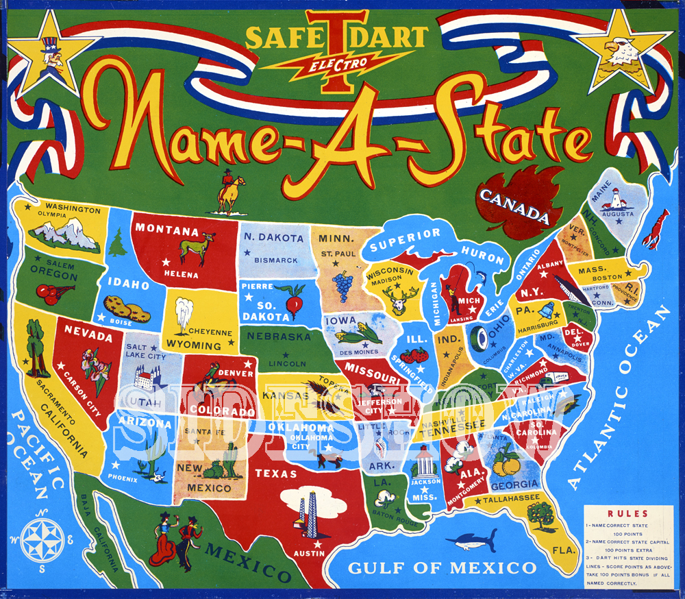 vintage graphic name a state dart board